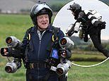 David Jason, 79, dons a futuristic jet pack while shooting upcoming show Great British Inventions