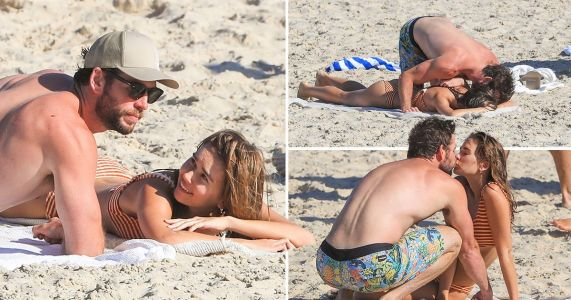 Liam Hemsworth can't keep his hands off new girlfriend Gabriella Brooks during steamy beach PDA sesh