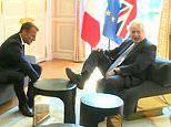 Boris criticised for putting his feet on Elysee furniture - but video shows Macron invited him to
