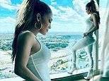Jennifer Lopez flaunts her gym-honed physique as she continues rehearsals for Super Bowl show