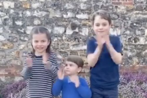 Prince George, Princess Charlotte and Prince Louis clap for NHS alongside nation