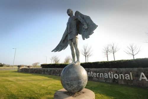 Iconic Greek statute that is the double of former Celtic star John Hartson airport is left to rot at Prestwick Airport