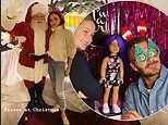 Victoria Beckham poses with Santa while David sports Christmas glasses during festive outing