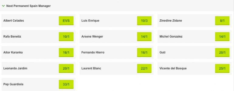 Next Spain manager betting odds: Rafa Benitez & Arsene Wenger amongst favourites