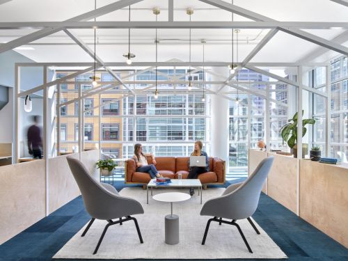 The nature-themed floors at Slack's San Francisco headquarters take employees from the desert to a cloudy mountaintop