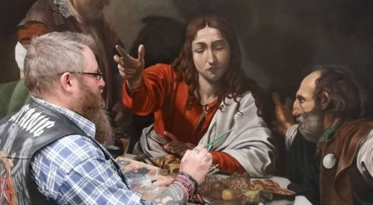 On display at last. Northern Ireland artist Paul Bell's Biblical painting which he began 25 years ago