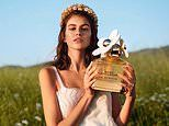 Kaia Gerber shines in a white dress and flower crown for new Marc Jacobs fragrance campaign