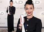 Ruth Negga is spotted posing withher Spotlight Award at the 24th SCAD Savannah Film Festival