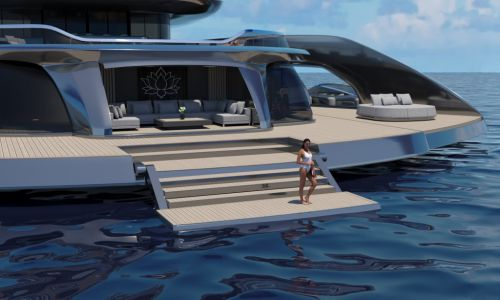 Stunning billionaire megayacht boasts its own beach club and patented extendable deck