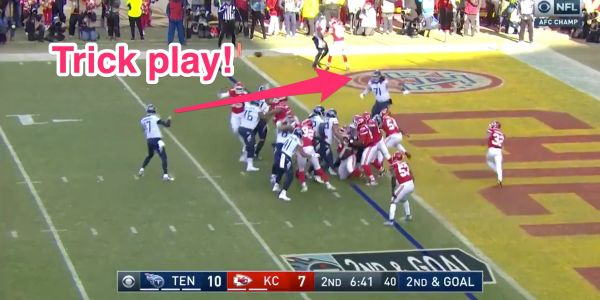 The Titans fooled the Chiefs with a trick play that resulted in the heaviest touchdown in playoff history