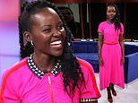 Lupita Nyong'o looks killer in pink as she stops by Univision's Un Nuevo Dia to promote new film Us