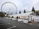 Christmas grotto is set up on disabled and family parking bays at Manchester's Trafford Centre