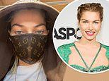 Model Jessica Hart shows off a Louis Vuitton leather face mask amid COVID-19 outbreak