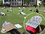 University of Georgia students stage 'die-in' to protest the college's re-opening plans