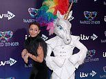 Davina McCall, 52, shuns her heavy fringe in favour of intricate plaits at The Masked Singer launch