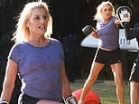 Big Brother evictee Marissa Rancan, 62, works up a sweat during an outdoor boxing session