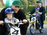 Fast and Furious actor Jason Statham takes son Jack on a mini motorbike ride