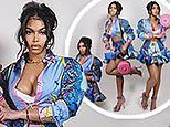 Lori Harvey flashes her ample assets in a silky crop top and mini skirt for new luxury Versace ad