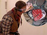 Jacqueline Jossa squeals as she tackles Snake Hotel with Myles Stephenson