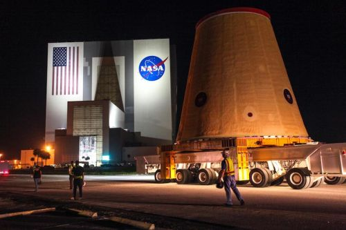 Penultimate piece of NASA's first SLS rocket arrives at Kennedy Space Center