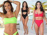 Melissa Gorga flaunts her toned abs as she puts on a bathing suit fashion show at her vacation home
