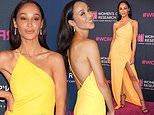 Cara Santana glows in a yellow gown at Women's Cancer Research Fund's benefit gala in LA