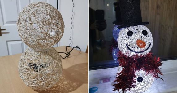 Mum makes amazing snowman Christmas decoration using string, glue and balloons for under £12