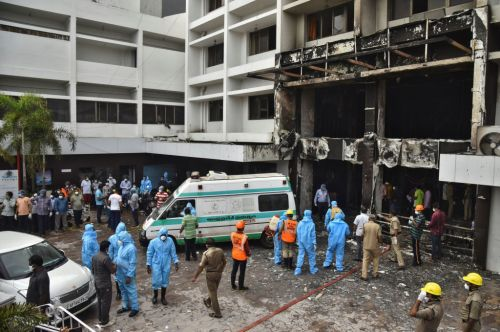 11 patients killed in fire in India at hotel being used as coronavirus facility