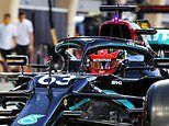 George Russell takes to the track in Lewis Hamilton's Mercedes for first practice at the Sakhir GP