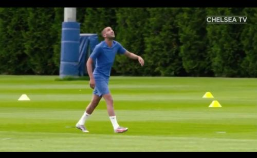 : Hakim Ziyech all smiles as he trains at Cobham for the first time