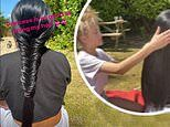 Katie Price has her hair lovingly styled into a plait by her daughter Princess, 12, in adorable clip