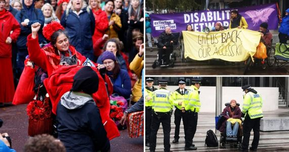 Disabled protesters demand return of wheelchairs and ramps 'confiscated by police'