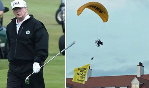 Trump protester ARRESTED after paraglider flies DANGEROUSLY close to Turnberry golf course