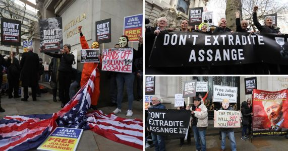 Hundreds of protesters call for release of Julian Assange at London rally
