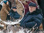 Michael Caine is pushed in a wheelchair by Aubrey Plaza during filming for comedy Best Sellers