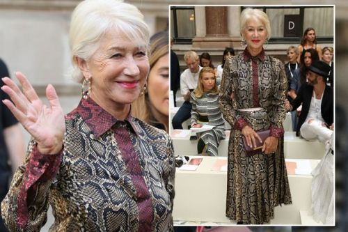 Dame Helen Mirren looks phenomenal in sexy snake-print dress for Victoria Beckham's LFW show
