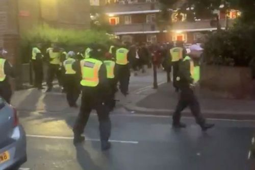 Police attacked by huge crowd as they try to break up illegal street party