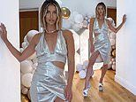 Ferne McCann stuns in a plunging cut-out metallic gown on her 30th birthday