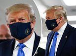 Donald Trump is pictured wearing a mask as he visits Walter Reed hospital