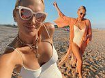 Molly Sims rocks white one-piece swimsuit on the beach and cruises around Montauk with her family