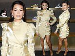 Jess Wright glitters in gold as she attends LFW closing party