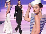 Gigi Hadid goes from Sailor to Siren as she makes two treks down the Jean-Paul Gaultier runway
