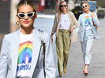 Ashley Roberts shows her support for the NHS with charity rainbow T-shirt for radio duties