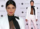 Priyanka Chopra wears sheer blouse under a white suit at Beautycon LA