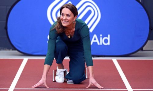 Kate Middleton is gorgeous in green wearing casual culottes and trainers for SportsAid event in London
