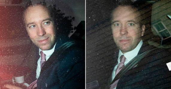 Matt Hancock pictured without face mask in back of chauffeur-driven vehicle