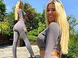 Christine McGuinness shows off her pert derrière in form-fitting grey leggings and matching crop top
