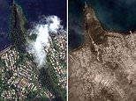 Satellite images show St. Vincent blackened by ash as La Soufrière volcano continues to erupt