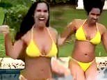 Padma Lakshmi, 49, of Top Chef is in top shape as she models a yellow bikini