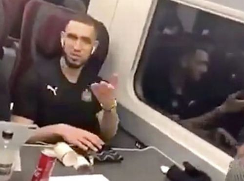 Newcastle players CLASH with angry fan on train after Arsenal hammering